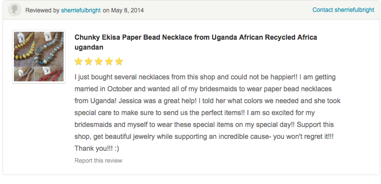 Ekisa Paper bead necklace made by single women in Uganda, Africa. African Jewelry all made by uganda nwomen. Fair- trade, all profits go to education in Uganda. All handmade from rolled up magazines and recycled paper