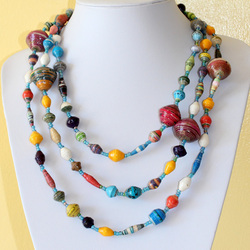 Ekisa paper bead paperbead necklace made in uganda handmade africa ugandan women fair trade non-profit